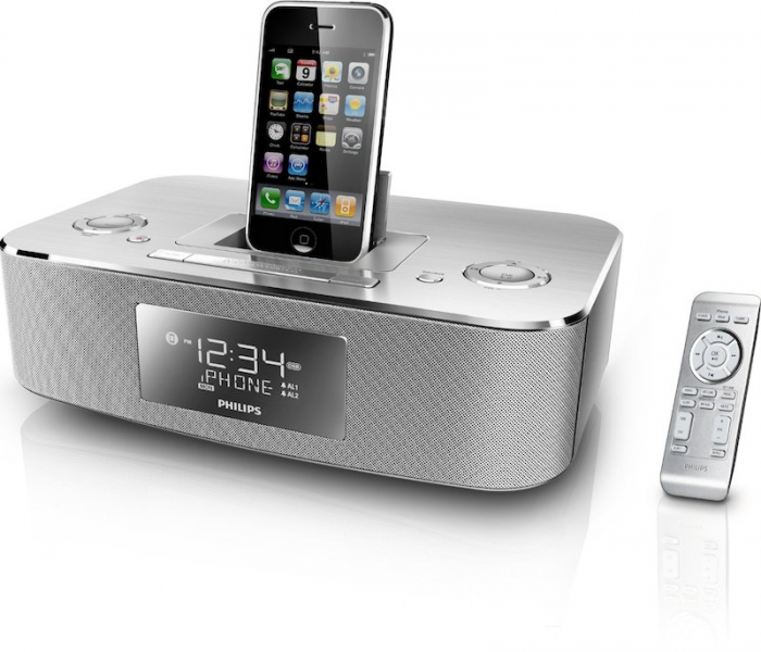 Yugster - Philips 30-Pin iPod/iPhone Alarm Clock Speaker Dock (Brushed ...