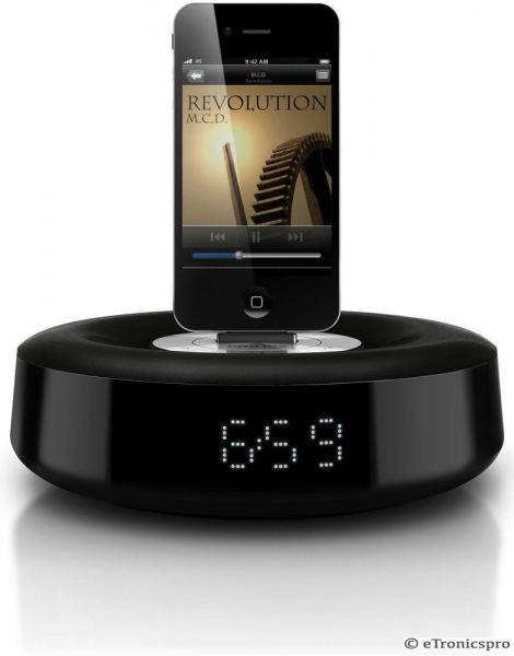 ... iPod iPhone Charging Dock Station Speaker w Alarm Clock USB | eBay