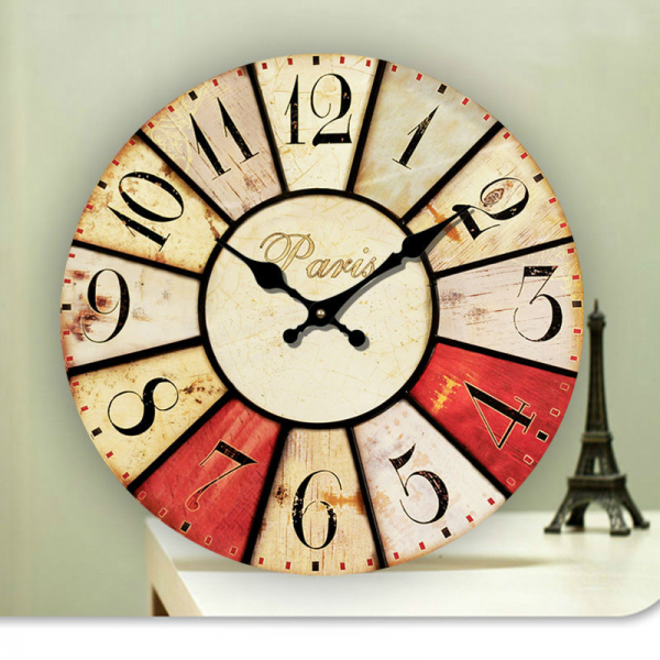 ... Colourful French Country Tuscan Style Paris Wood Wall Clock WG004-14
