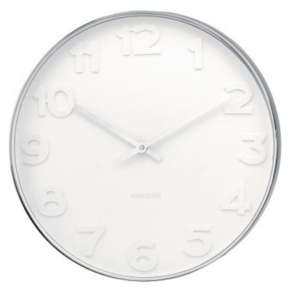 Karlsson Small Mr White Contemporary Wall Clocks | Silver Hands