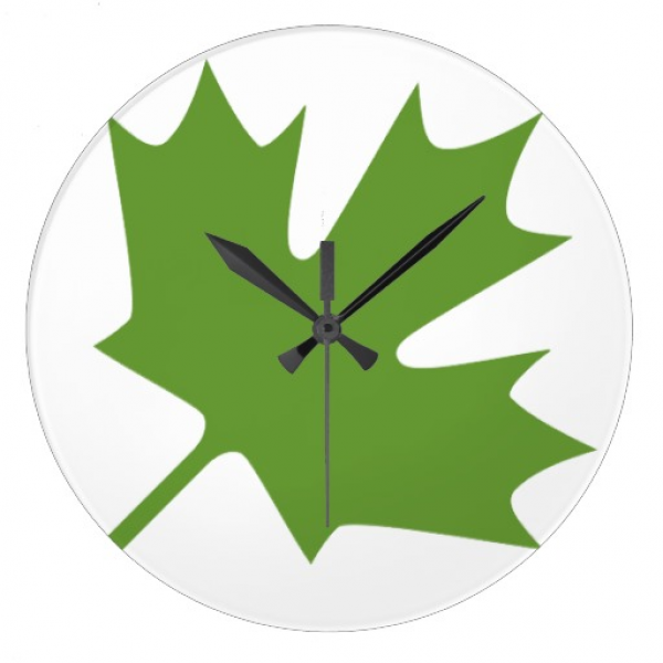 Green Maple Leaf Clock | Zazzle