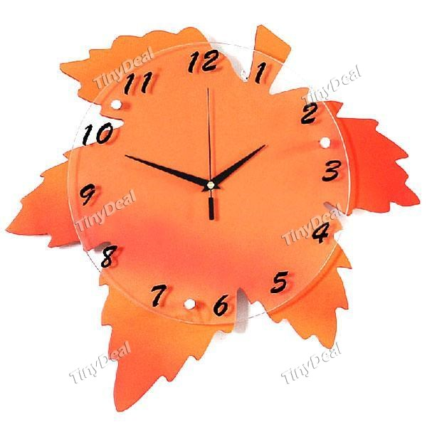 Creative Maple Leaf Wall Clock Pastoral Quartz Clock for Home Decor ...