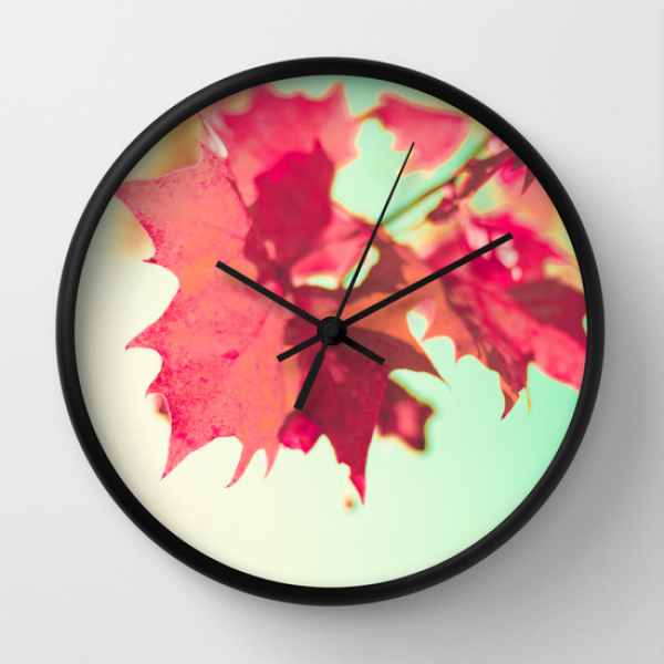 Red Maple Leaf in Autumn Wall Clock