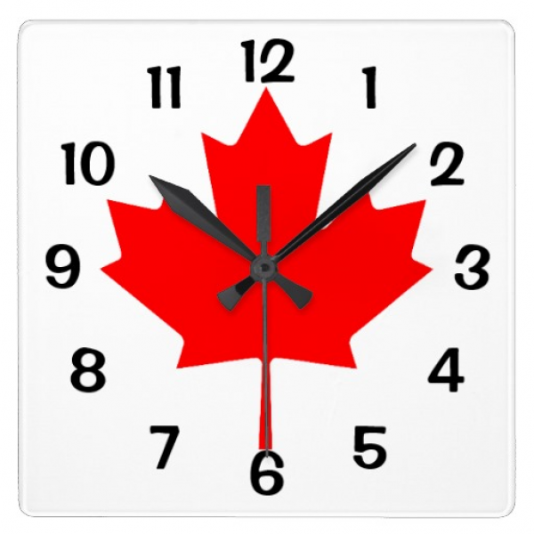 Canada Red Maple Leaf Square Wall Clock