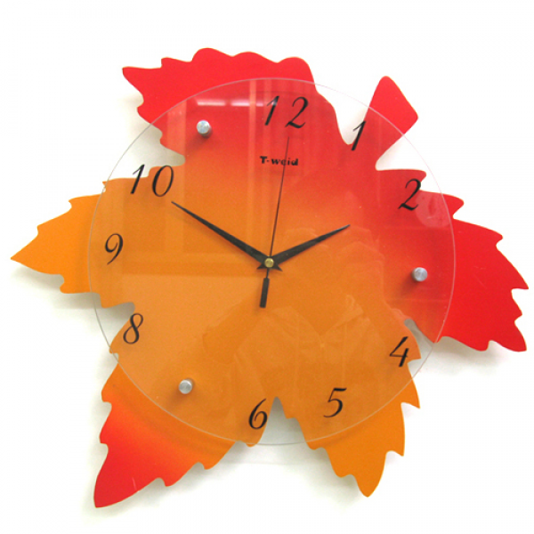 Maple Leaf Creative Lovely Stylish Living Room Art Decor Wall Clock