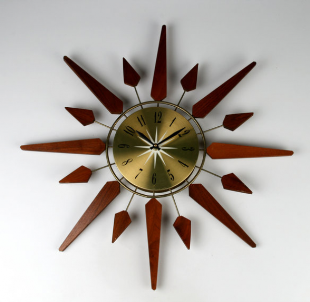 Walnut and Brass Atomic Starburst Wall Clock CLOSED - Sold it