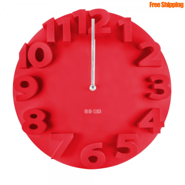 Silence 3D Number Wall Clock *Red*