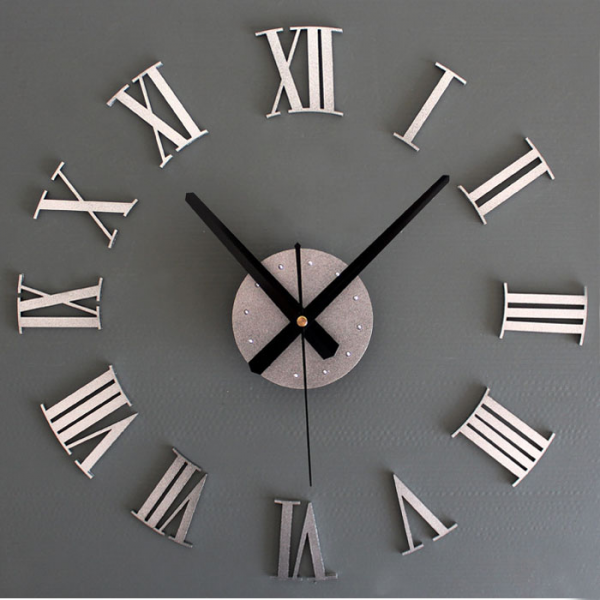 DIY Luxury 3D Wall Clock Large Size Home Decoration ART Clock Silver ...