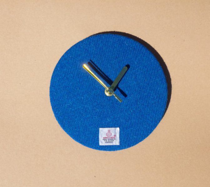 Harris Tweed 7 Wall Clock in Plain Blue by by LewisianNice on Etsy