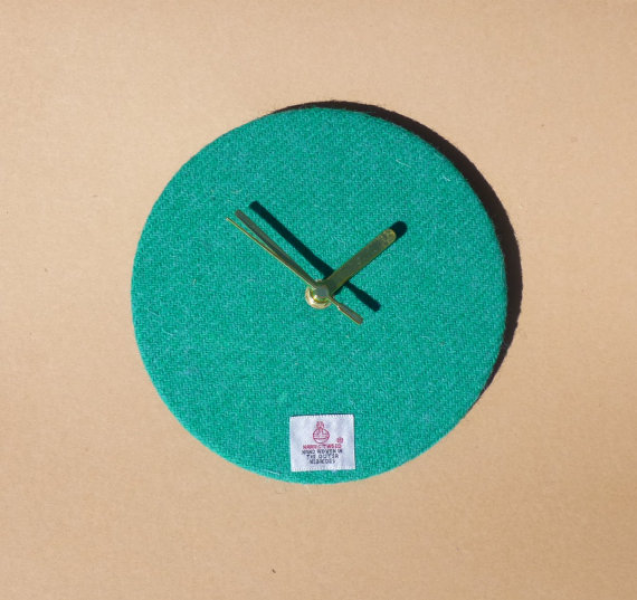 Harris Tweed 7 Wall Clock in Plain Jade Green by by LewisianNice