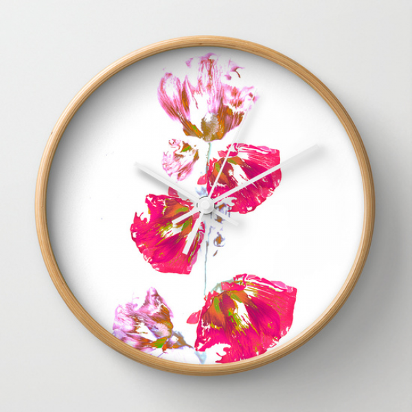 Mallow(2). Wall Clock by Mary Berg | Society6