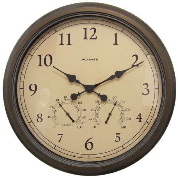 AcuRite-01061-24-Inch-Patina-IndoorOutdoor-Wall-Clock-with-Thermometer ...