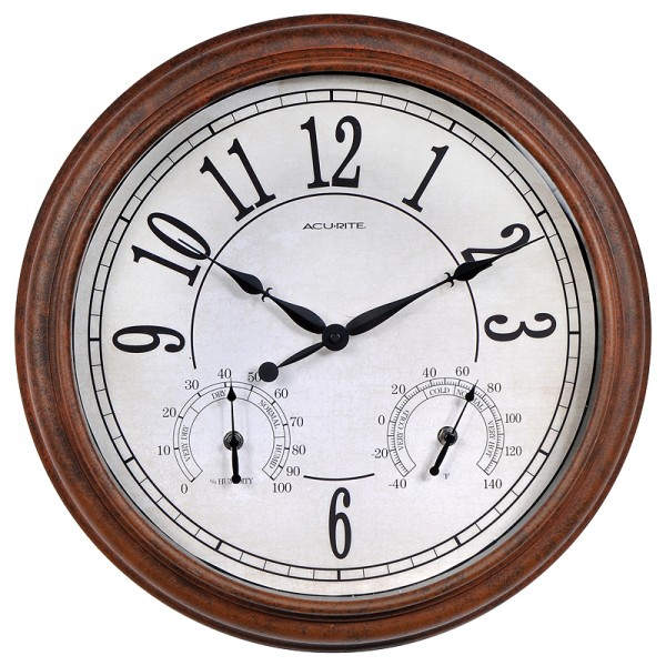 ... Weathered Rust Outdoor Clock with Thermometer and Humidity | AcuRite