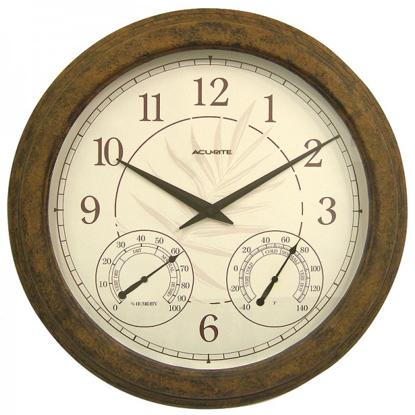 18 Indoor or Outdoor Clock with Thermometer & Humidity 01066