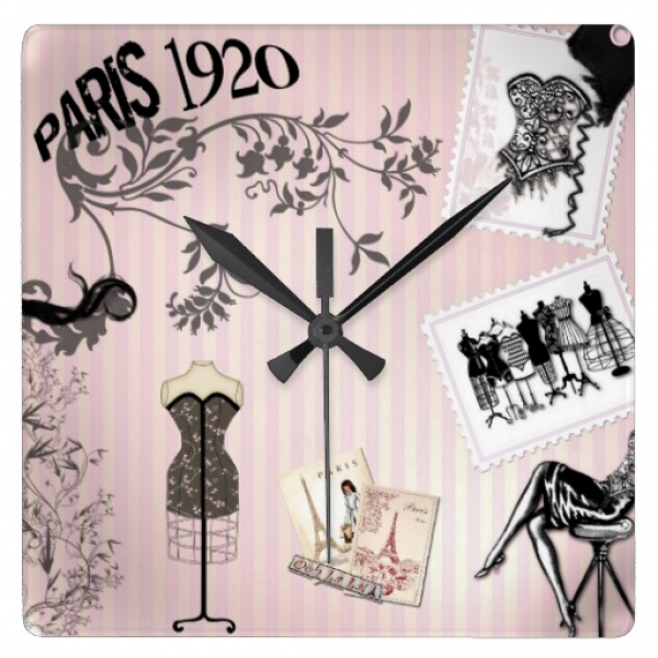 Chic Paris Vintage Fashion Wall Clocks | Zazzle