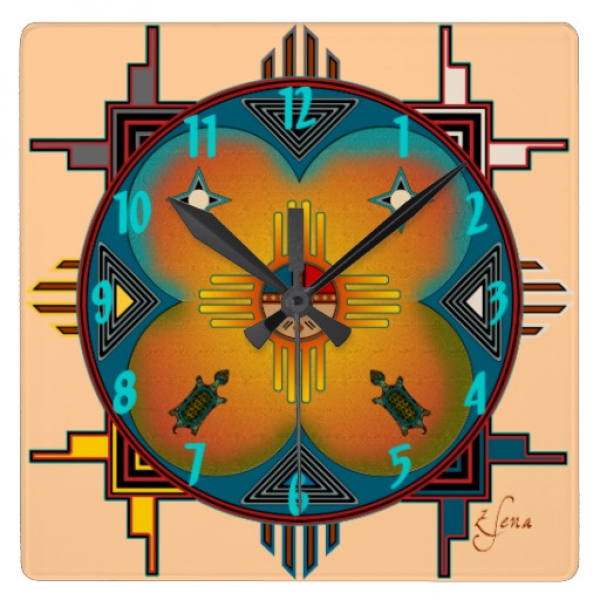 Southwestern Style Square Wall Clock | Zazzle