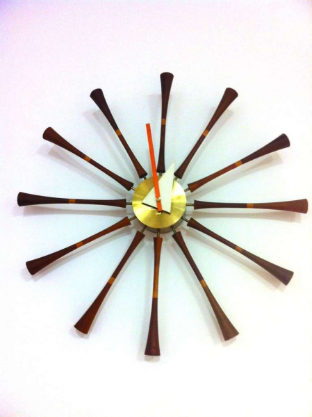 George Nelson for Howard Miller Spindle Clock at 1stdibs