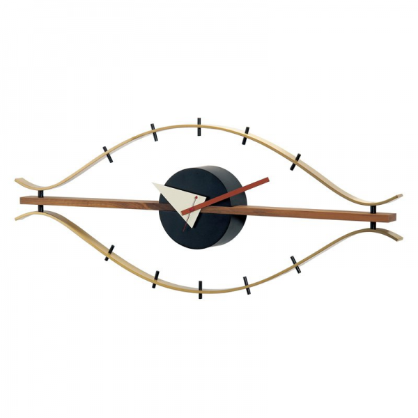 George Nelson Classic Brass Eye Wall Clock With Wood Trim by Kirch ...