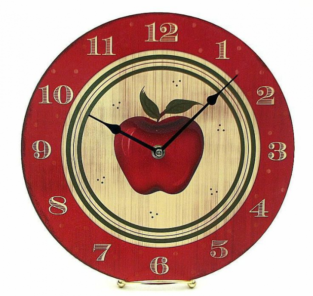Round Wooden Red Apple Wall clock.