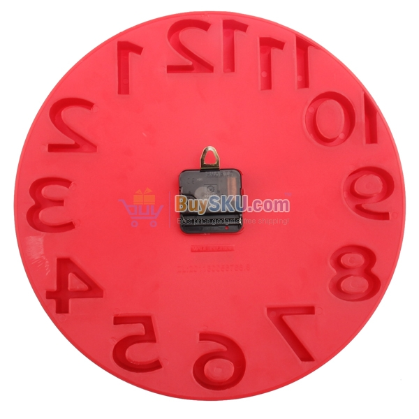 8806 Novelty Round Shaped 3D Arabic Numbers Wall Clock Art Clock (Red ...