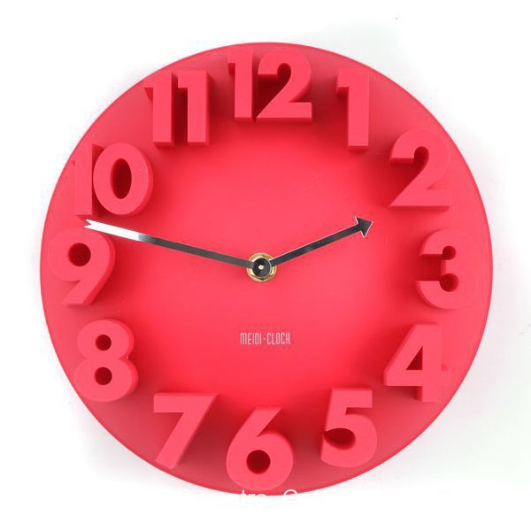 ... Creative Minimalistic 3D Number Analog Round Art Decor Wall Clock Red
