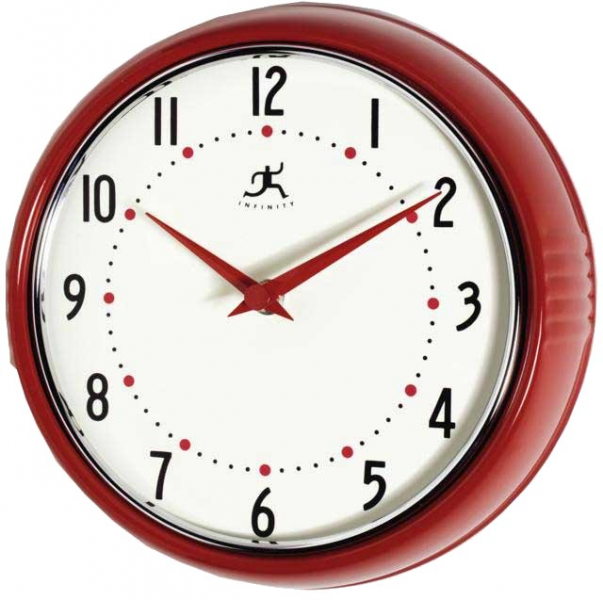 Retro Round Metal Wall Clock (Red)