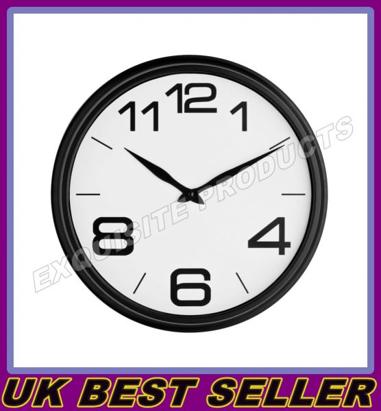 ROUND-WALL-CLOCK-RED-WHITE-BLACK-WALL-MOUNTED-RETRO-FUNKY-LARGE ...