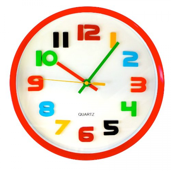 Details about Round Red with White Face Colorful Numbers Wall Clock