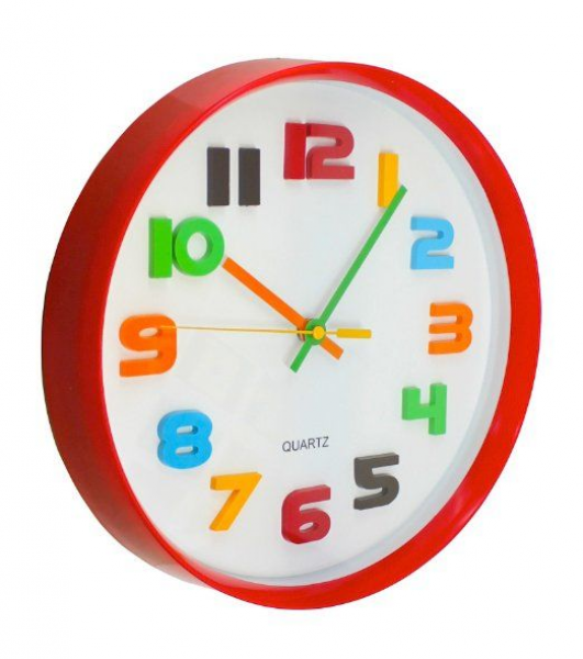 ... Round Red with White Face Colorful Numbers Wall Clock - Childrens Wall