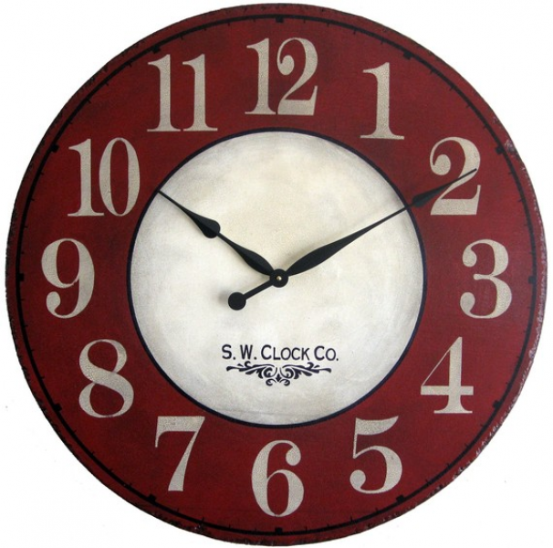 ... Wall Clock Antique Style Red Cream French Country big round tuscan