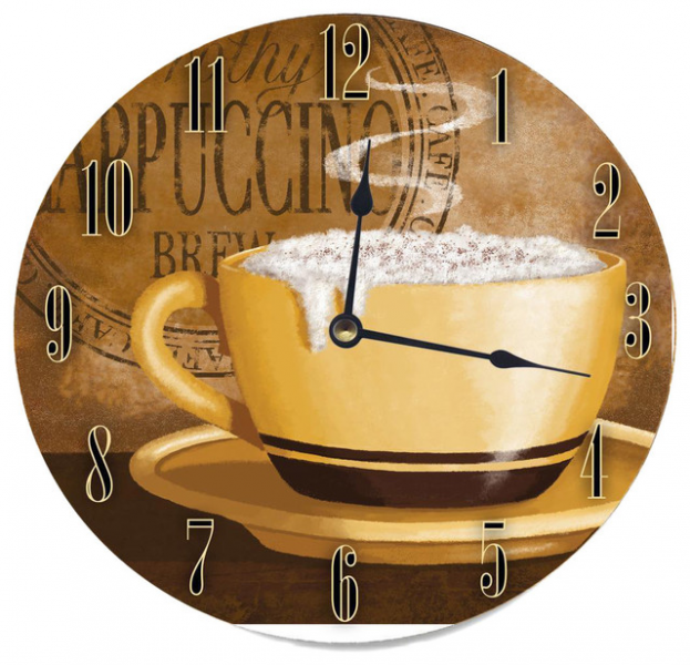 Frothy Cappuccino Round Wood Wall Clock contemporary-clocks