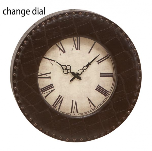 20 Royal Round Wood N Leather Wall Clock
