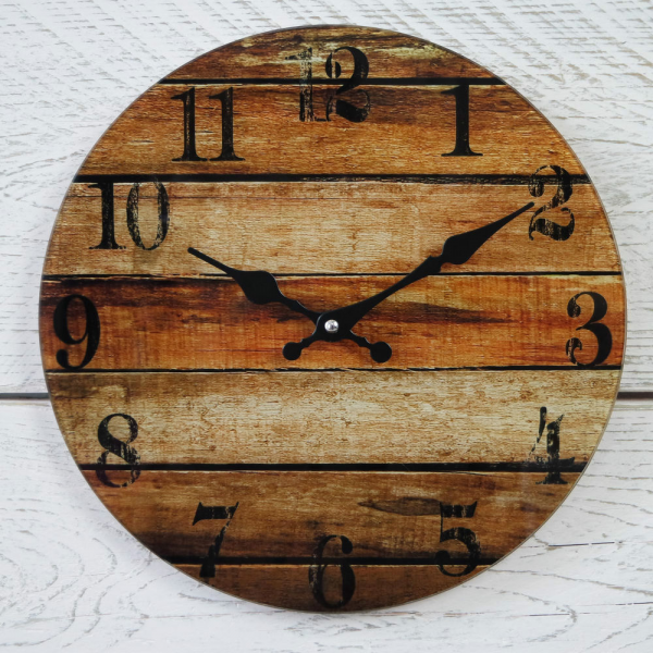 ... Vintage Round Black Brown Slatted Wood Effect Glass Wall Clock | eBay