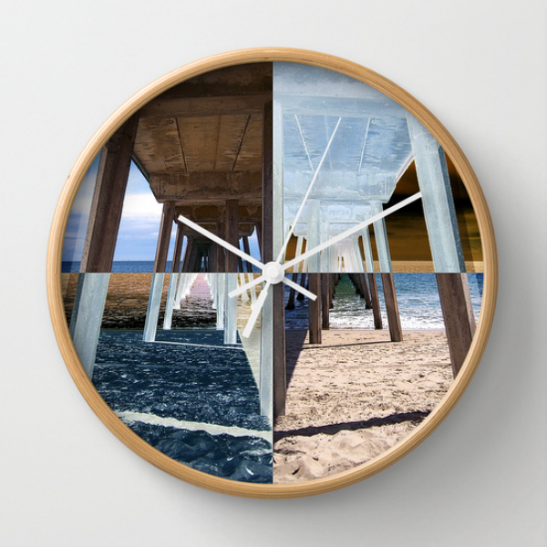 Quadrants of An Ocean Pier Wall Clock by Phil Perkins | Society6