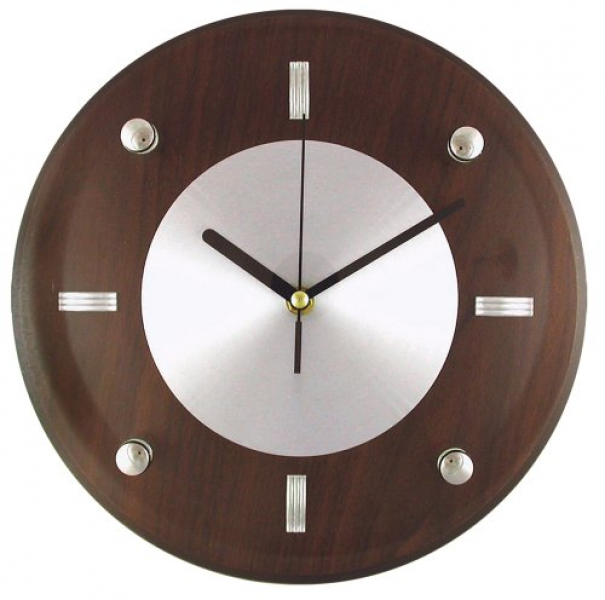 Timekeeper Products LLC 11-Inch Round Brown and Silver Wall Clockgood