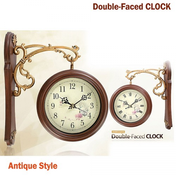 NEW Antique Style Double-Faced CLOCK Interior Double Sided Wall Clock ...