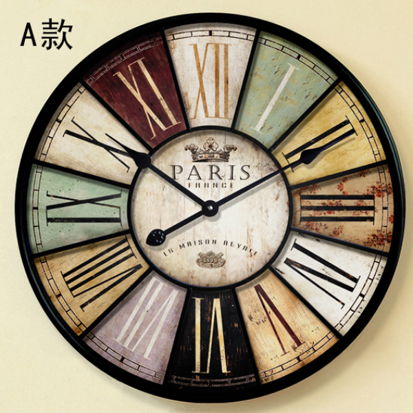 Big wall clock vintage large wood watch on the wall home wall decor 6 ...