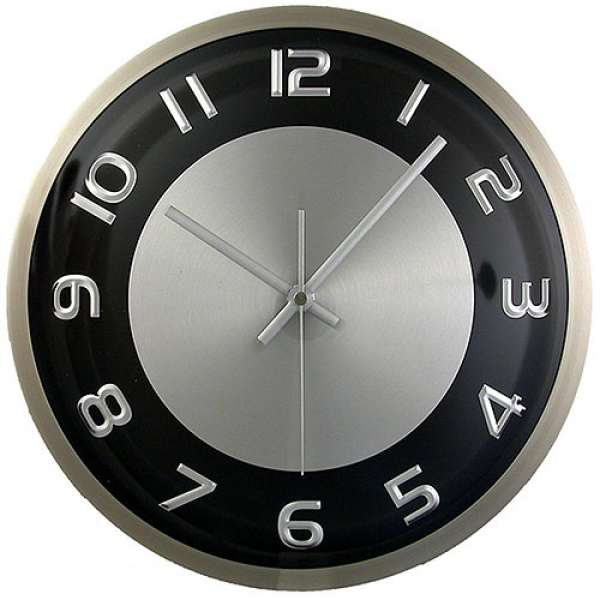 Silver and Brushed Aluminum Wall Clock