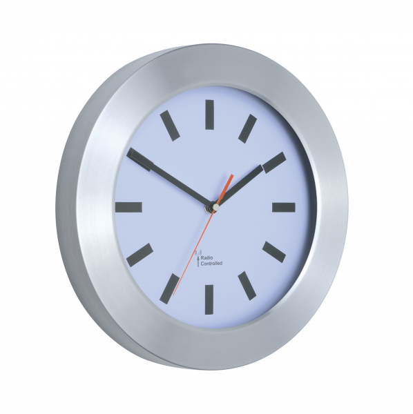 Wall Clock Brushed Aluminium Case Diameter 300mm - Apollo Business ...