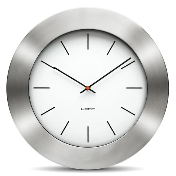 This stylish, designer wall clock has a thick brushed stainless steel ...