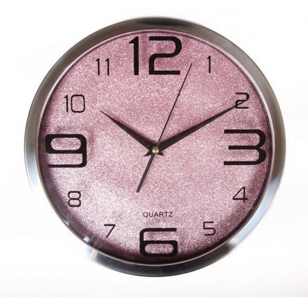 Home Stainless Steel Purple Sparkles Wall Clock