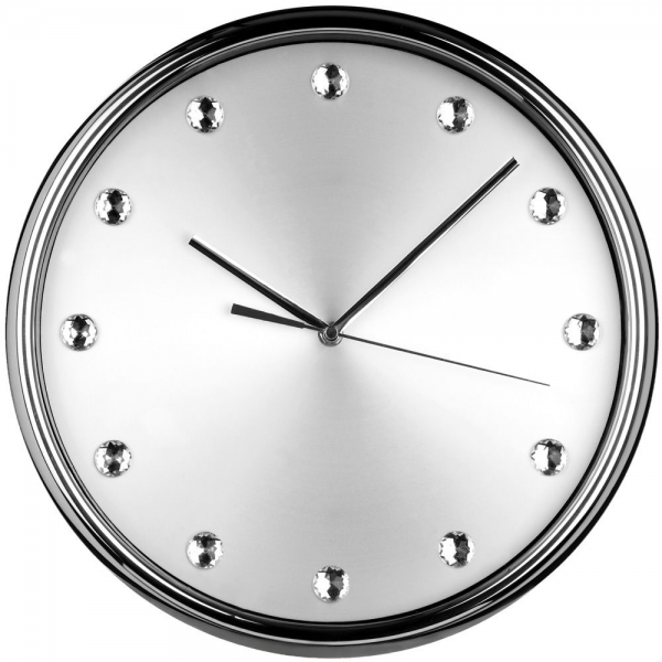 Wall Clock Clear Diamantes Stainless Steel Silver Face Round Modern By ...