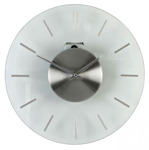 Details about Modern Style Brushed Stainless Steel & Glass Wall Clock