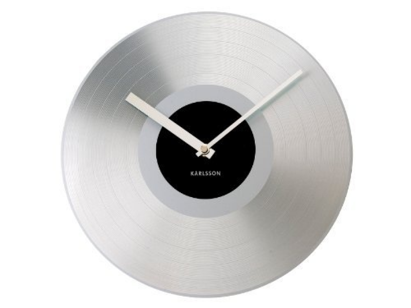 Karlsson Wall Clock Platinum Record Aluminum, Silver by Present Time ...