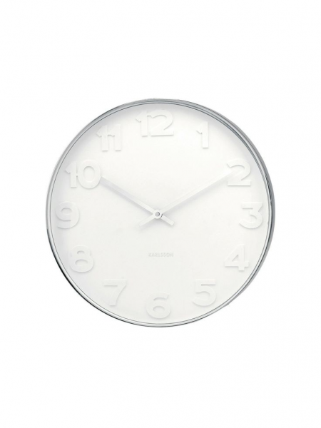 Mr. White Wall Clock by Karlsson by Present Time at Gilt