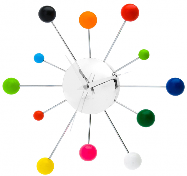 Present Time Karlsson Wall Clock Mixed Spider Multi Color Steel Chrome