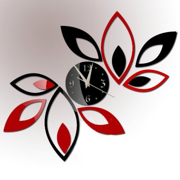 and Black Rhombus Leaves Leaf Diamonds Wall Clock Mirror Wall Clock ...
