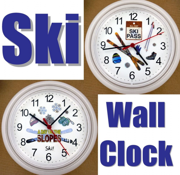 Ski Wall Clock Skier Skis Poles Boots Snow Lift Ticket Diamond Trail ...