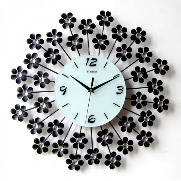 iron wall clock rustic small flower clock fashion personality diamond ...