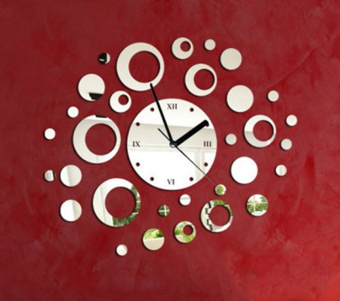 Toprate(TM) Silver Creative Rounds Circle Dot Points Clock Mirror Wall ...